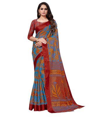 Blue plain brasso saree with blouse