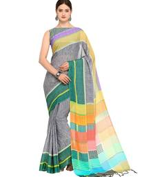 grey printed Silk Blend saree with blouse