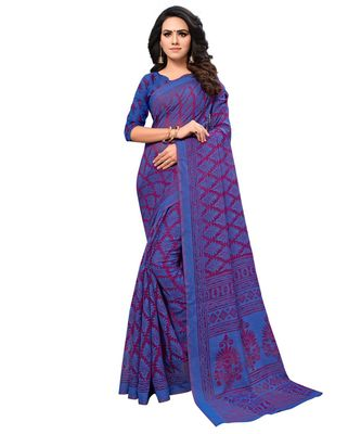 blue Woven Brasso saree with blouse