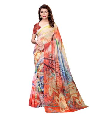 Multicolor plain Art Silk saree with blouse