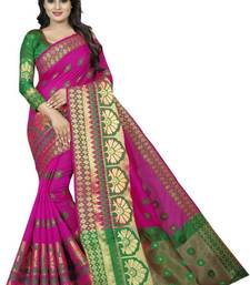 Buy Pink woven cotton silk saree with blouse