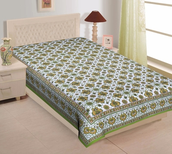 TEXSTYLERS Pure Cotton 200 TC Jaipuri Printed Single Bedsheet