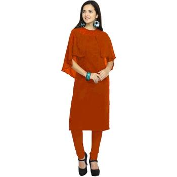 Orange embroidered georgette kurtas-and-kurtis