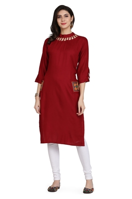 Red embroidered rayon embroidered-kurtis