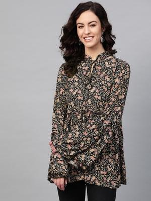 Pinksky Black woven cotton cotton-tops