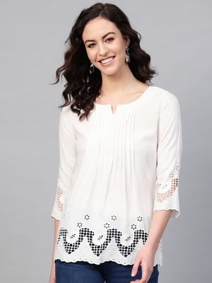 Pinksky White woven viscose rayon cotton-tops