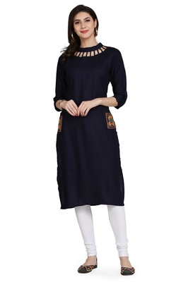 Blue embroidered rayon embroidered-kurtis