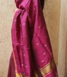 Wine Jamdani Handwoven Silk Saree