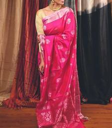Rani Pink and Silver Handwoven UppadaSilk Saree