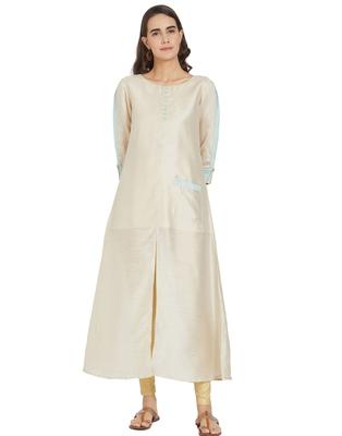 Cream plain silk ethnic-kurtis