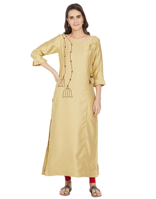 Beige embroidered polyester ethnic-kurtis