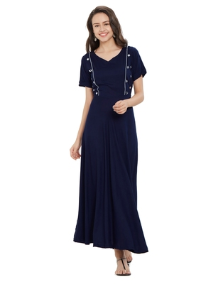 Navy-blue plain rayon ethnic-kurtis