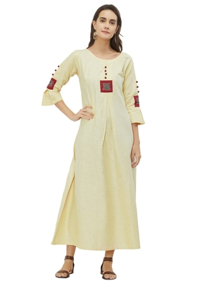 Off-white plain cotton ethnic-kurtis