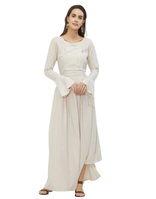 Off-white plain rayon ethnic-kurtis