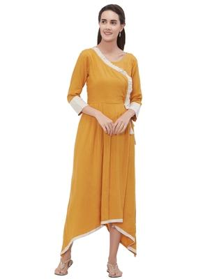 Yellow plain rayon ethnic-kurtis