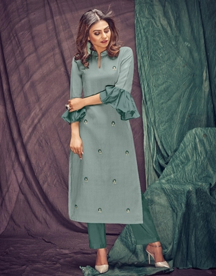 Light-grey embroidered linen ethnic-kurtis