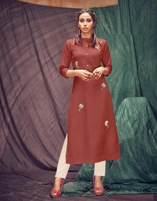 Brown embroidered linen ethnic-kurtis