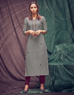 Grey embroidered cotton ethnic-kurtis
