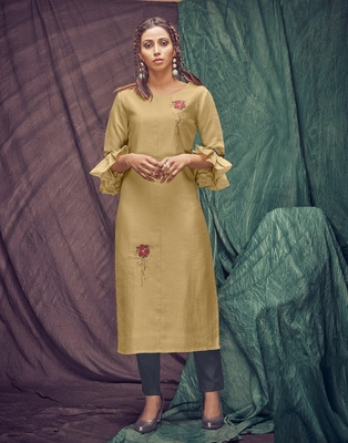 Golden embroidered viscose ethnic-kurtis
