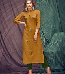 Mustard embroidered linen ethnic-kurtis