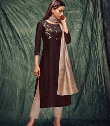 Coffee embroidered art silk ethnic-kurtis