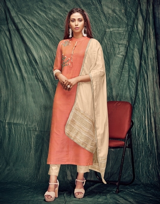 Orange embroidered silk ethnic-kurtis