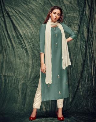 Teal-green embroidered art silk ethnic-kurtis