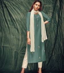 Teal-green embroidered art silk ethnic-kurtis