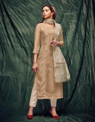 Beige embroidered silk ethnic-kurtis