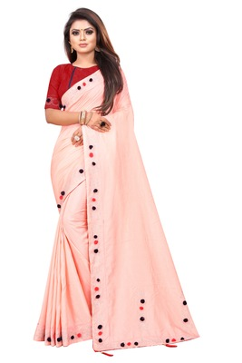 Peach Colored Partywear Zoya Art Silk Saree With Blouse