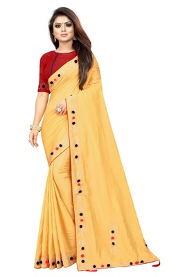 Yellow Colored Partywear Zoya Art Silk Saree With Blouse