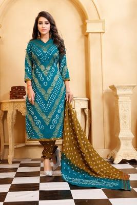 turquoise Cotton Salwar Suit Dupatta Bandhani Dress Material