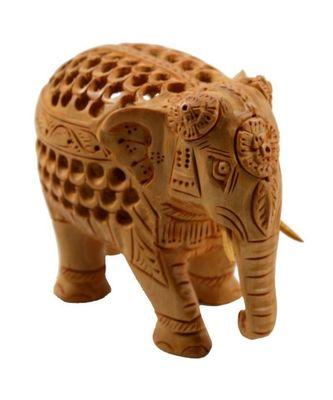 Home Decor Wooden Jali Elephant Statue Showpiece