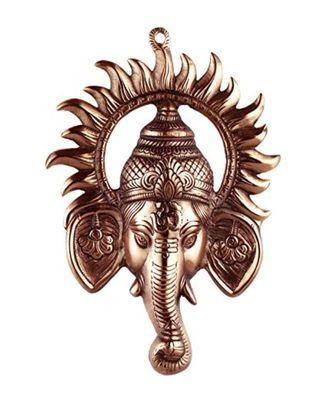 Black Metal Ganesh Ji Face Encircled With Suraj Ji Wall Hanging.