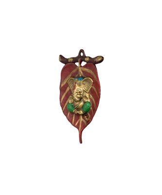 Lord Ganesha Leaf design Metal Wall Hanging