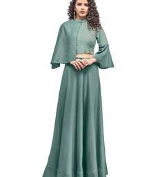 Sea-green plain art silk ethnic-kurtis