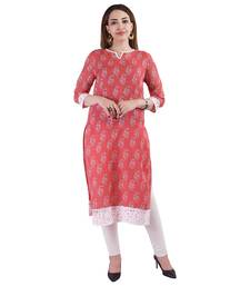 Red printed linen kurtas-and-kurtis
