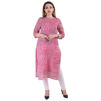 Pink printed linen kurtas-and-kurtis