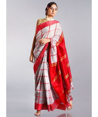grey blended cotton saree with red checks border pallu