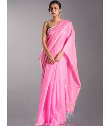 baby pink blended cotton saree with golden border