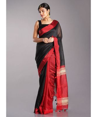 black blended cotton saree with red border and pallu