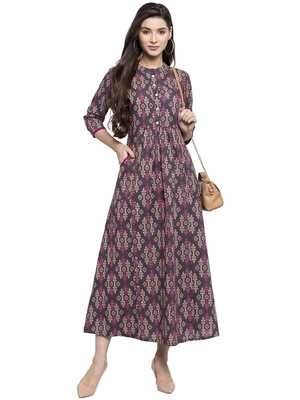 Indibelle Grey printed cotton kurtas-and-kurtis