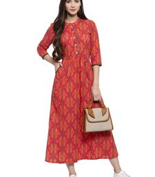 Indibelle Red printed cotton kurtas-and-kurtis