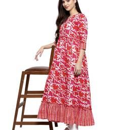 Indibelle Red printed cotton kurtas-and-kurtis