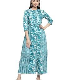 Indibelle Turquoise printed cotton kurtas-and-kurtis