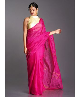 pink blended cotton saree with golden border