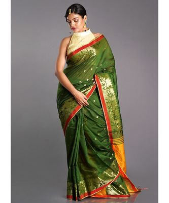 mehendi green blended cotton saree with yellow pallu and golden motifs