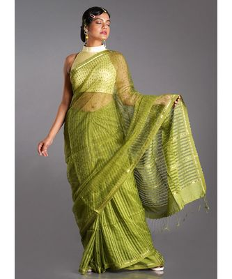 moss green blended cotton saree with golden strips
