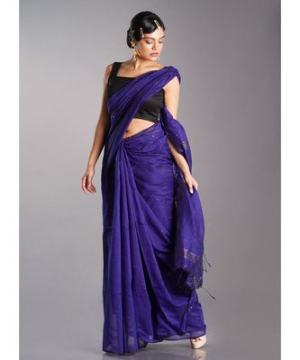 blue blended cotton saree with golden border