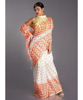 off white blended cotton saree with orange print